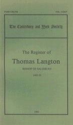 The Register of Thomas Langton, Bishop of Salisbury, 1485-93